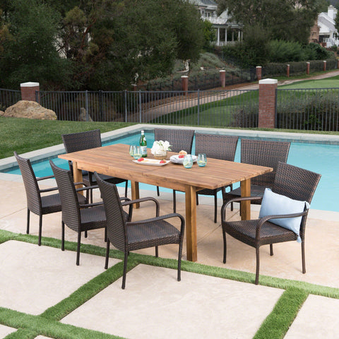 Outdoor 9 Piece Wicker Dining Set with Wood Expandable Dining Table - NH975303