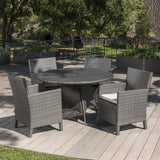 Outdoor 5 Piece Wicker Round Dining Set with Water Resistant Cushions - NH533203