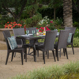 Outdoor Transitional 7-Piece Multi-Brown Wicker Dining Set - NH355003