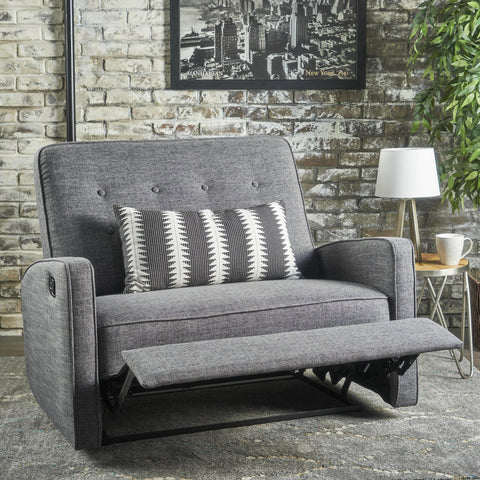 Buttoned Fabric Reclining Loveseat - NH825103