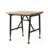 Ellaria Outdoor Rustic Industrial Acacia Wood End Table with Metal Frame, Teak and Black - NH131103