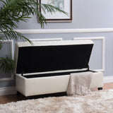 Button Tufted Leather Storage Ottoman Bench - NH668692
