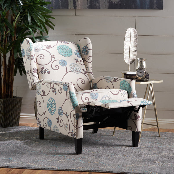 Floral Fabric Wingback Recliner - NH080103
