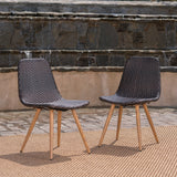 Outdoor Multi-Brown Wicker Dining Chairs With Wood Finished Metal Legs - NH179103