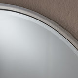 Modern Glam Round Silver Stainless Steel Wall Mirror - NH635303