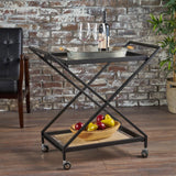 Modern Tempered Glass Black Iron Bar Cart - NH192203
