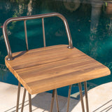 Outdoor Industrial Teak Finished Acacia Wood Bar Set - NH844303