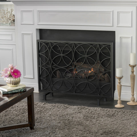 Modern Glam Single Panel Iron Fireplace Screen with Circle Pattern - NH845103