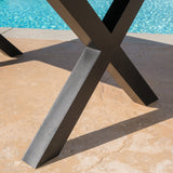 Outdoor Brown Walnut Finish Lightweight Concrete Dining Table - NH967303