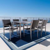 Outdoor 7Pc Grey Aluminum Dining Set w/ Glass Table Top - NH363003
