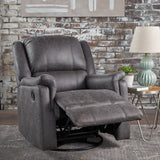 Tufted Slate Microfiber Swivel Gliding Recliner - NH850203