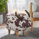 Milk Cow Patterned Velvet Ottoman - NH061203