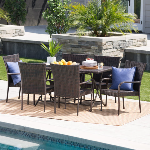 Outdoor 7-Piece Multi-Brown Wicker Dining Set with Foldable Table - NH510203