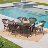 Outdoor 7 Piece Multi-Brown Wicker Dining Set - NH410203