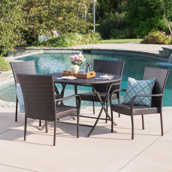 Outdoor 5 Piece Multi-Brown Wicker Dining Set - NH200203