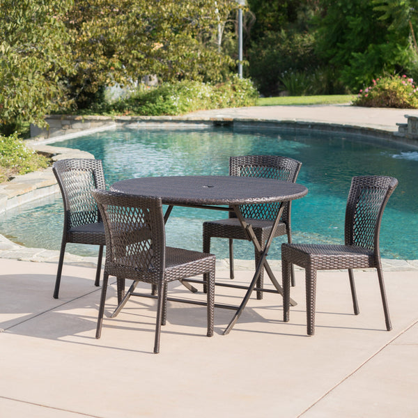 Outdoor 5 Piece Multi-brown Wicker Dining Set - NH500203
