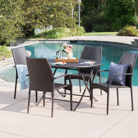 Outdoor 5 Piece Multi-brown Wicker Dining Set - NH600203
