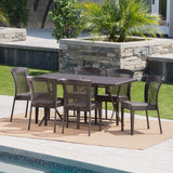 Outdoor 7 Piece Multi-brown Wicker Dining Set - NH810203