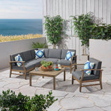 Outdoor 7 Piece Acacia Wood Sectional Sofa and Club Chair Set - NH623803