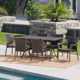Outdoor 7 Piece Multi-brown Wicker Dining Set - NH710203