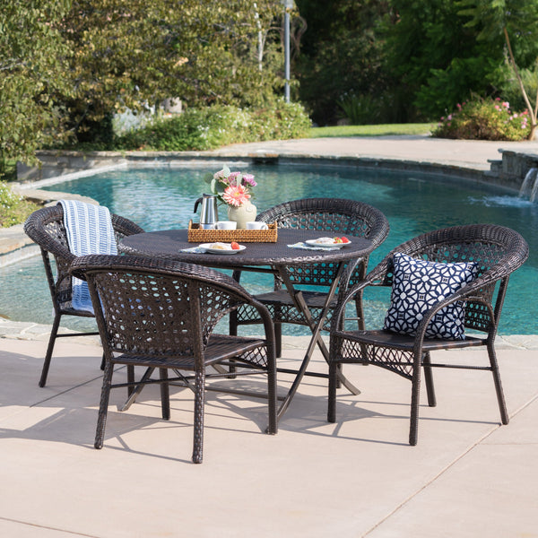Outdoor 5 Piece Wicker Dining Set with Foldable Table and Chair - NH100203