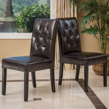 Tufted Diamond Stitch Leather Dining Chairs (Set of 2) - NH818312