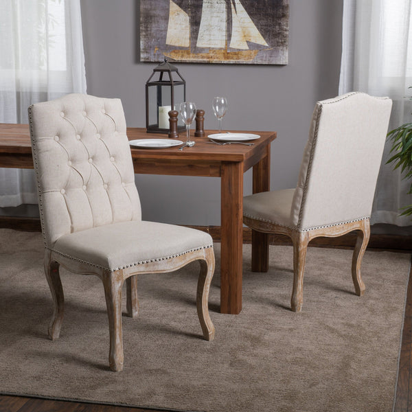 Traditional Button Tufted Fabric Dining Chairs with Curved Legs (Set of 2) - NH803412