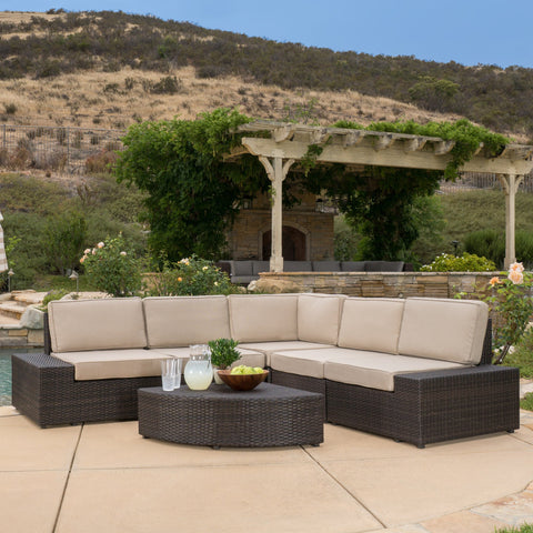 6pc Outdoor Brown Wicker Sectional Seating Set - NH113412