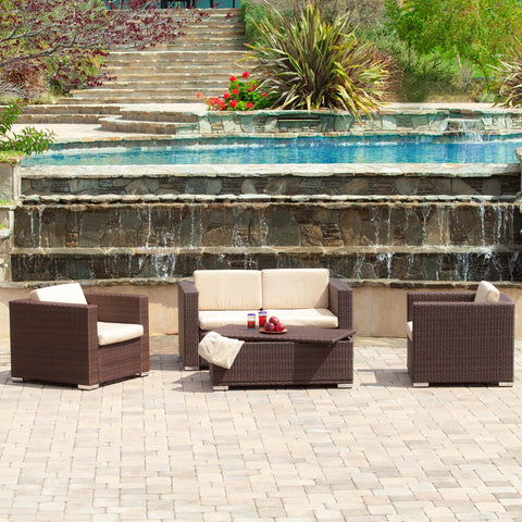 Outdoor 4-Piece Brown Wicker Sofa Set with Storage Ottoman Table - NH382612