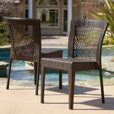 Outdoor Patio Furniture Brown Wicker Chairs (Set of 2) - NH804612