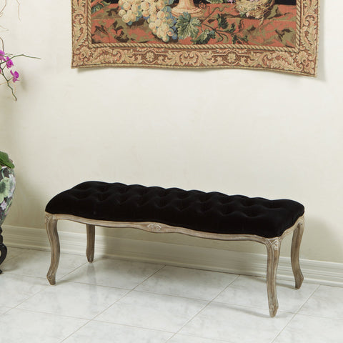 Traditional Button Tufted Velvet Bench - NH759612