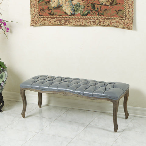 Traditional Button Tufted Bonded Leather Bench - NH859612