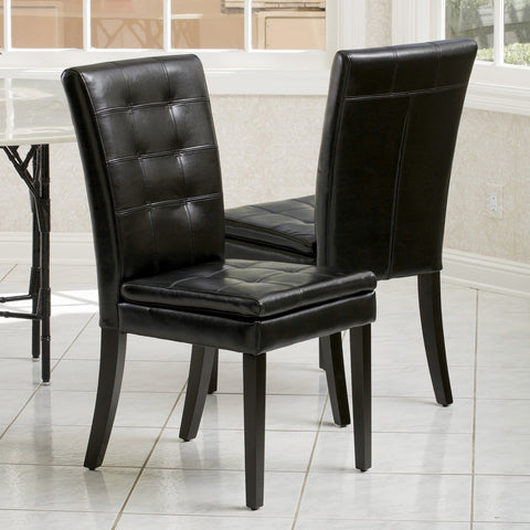 Black Leather Dining Chairs (Set of 2) - NH454712