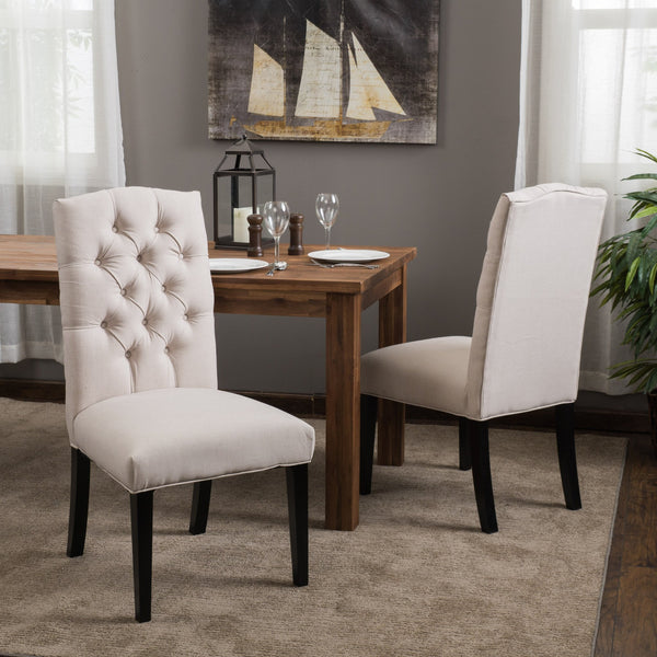 Button Tufted Fabric Dining Chair with Tapered Legs, Set of 2 - NH338812