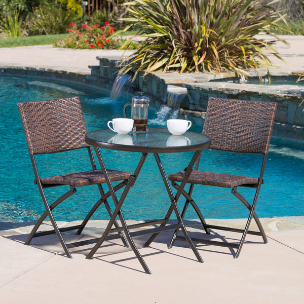 3pc Outdoor Wicker Folding Bistro Set - NH366922