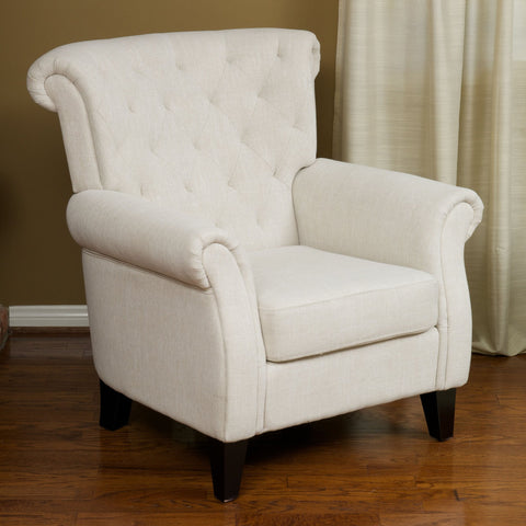 Contemporary Tufted Scroll-Back Upholstered Club Chair w/ Scrolled Arms - NH468992