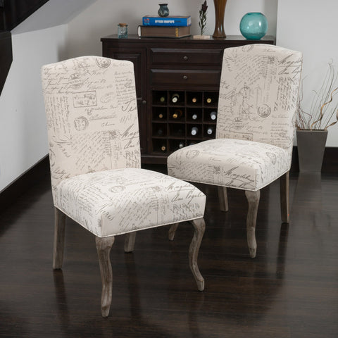 Back French Script Beige Fabric Dining Chairs (Set of 2) - NH472032