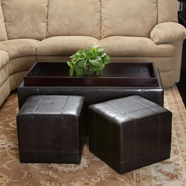 3-Piece Espresso Brown Leather Storage Ottoman - NH883132