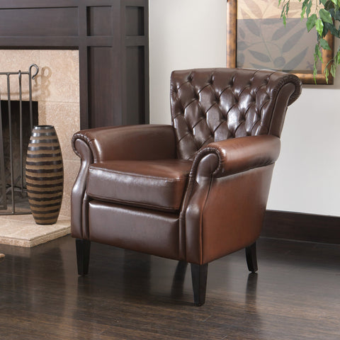 Mid-Century Modern Tufted Club Chair with Rolled Arms - NH639232