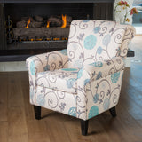 Scrolled Back Floral Print Fabric Club Chair - NH094432