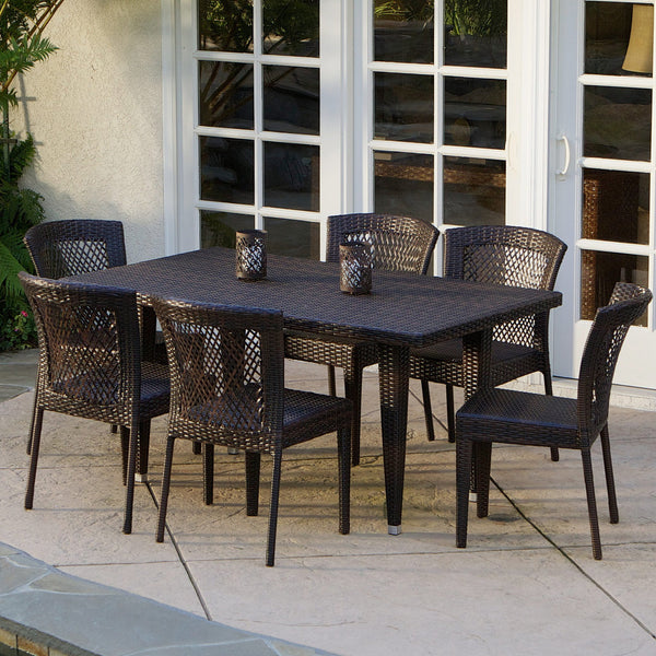 Point 7-pc Outdoor Patio Furniture Brown Wicker Dining Set - NH473532