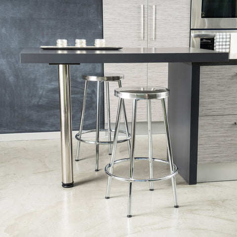 30-Inch Modern Design Chrome Steel Bar Stools (set of 2) - NH796632