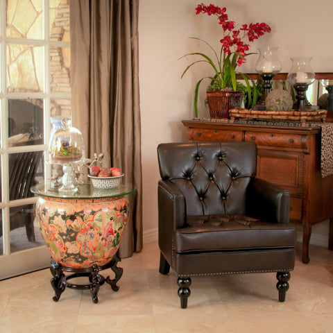 Brown Leather Club Chair - NH453732