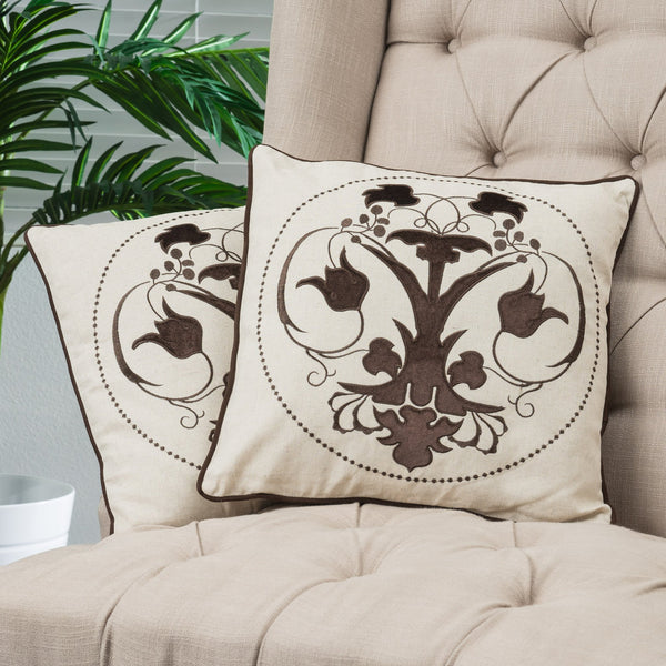 18-inch Black Embroidered Whimsical Tulip Pillows (Set of 2) - NH019732