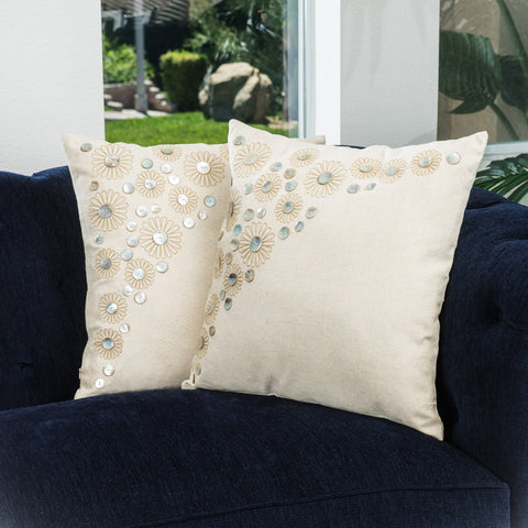 18-inch Embroidered Paillette Beading Throw Pillows (Set of 2) - NH229732