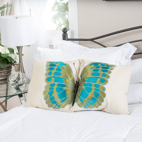 18-Inch Beige Fabric Throw Pillow w/ Blue and Green Butterfly (Set of 2) - NH529732