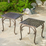Jimenez Outdoor Cast Aluminium Side Table (Set of 2)