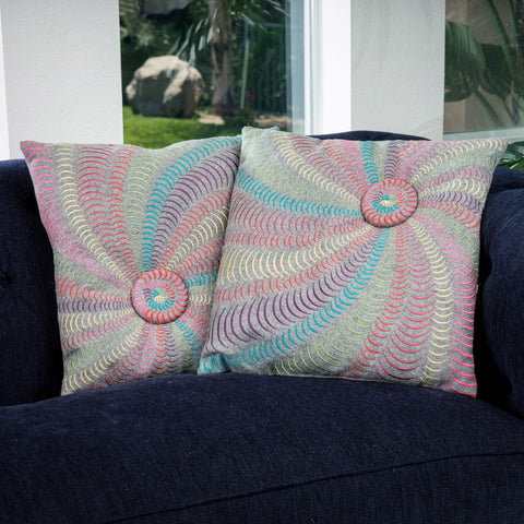 18-inch Multi-Colored Grey Flannel Starburst Pillows (Set of 2) - NH423832