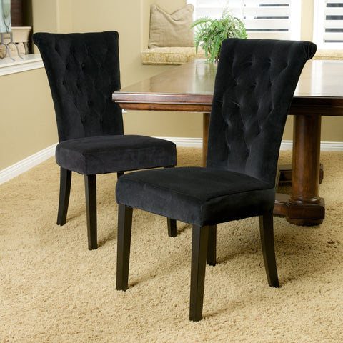 Black Velvet Dining Chairs (Set of 2) - NH675832