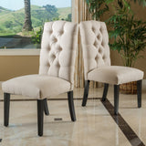 Tufted Natural Plain Fabric Dining Chair (Set of 2) - NH306832